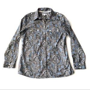 NWOT Banana Republic paisley blouse L